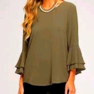Joan Rivers s20W olive green blouse